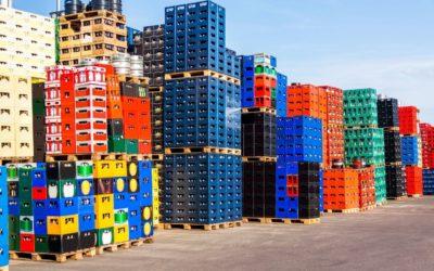 Stacks of beverage bottle crates
