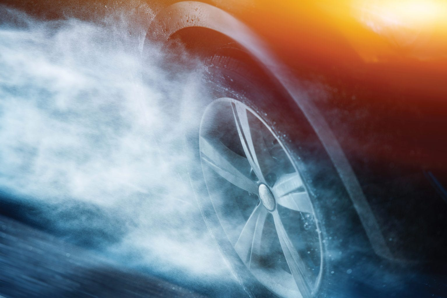 Heavy Rain Driving. Driving Aquaplaning or Hydroplaning Concept. Car Wheel in the Rainstorm.