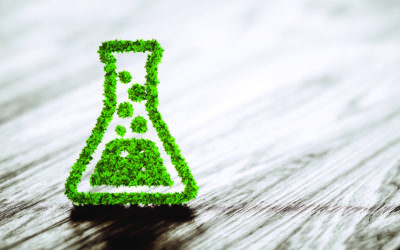 Green chemistry industry sign on black wooden background. 3D rendering.