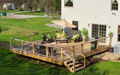 Backyard with wood deck