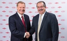 Edward D. Breen, chairman and CEO of DuPont (left), and Andrew N. Liveris, president, chairman and CEO of Dow.