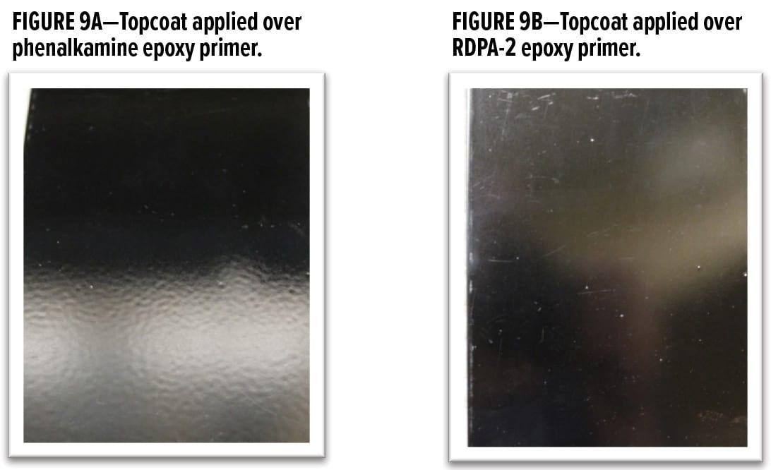 Topcoat applied over phenalkamine epoxy primer. Topcoat applied over RDPA-2 epoxy primer.