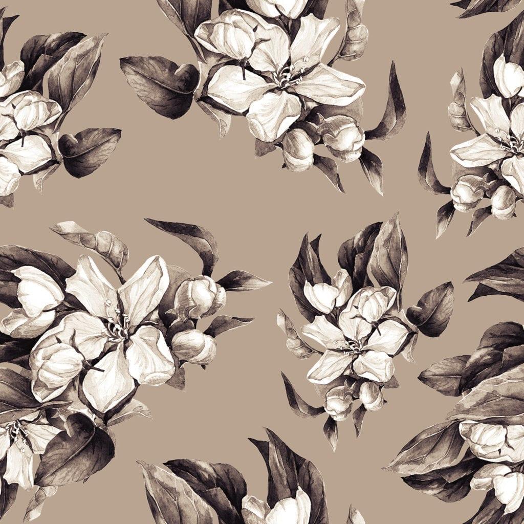 花卉春天无缝模式。 用水彩画的盛开的苹果树的一个分支。