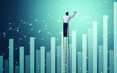 Businessman climb ladder to write dot graph with increasing grap