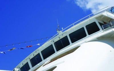 Ship's Bridge close up against blue sky