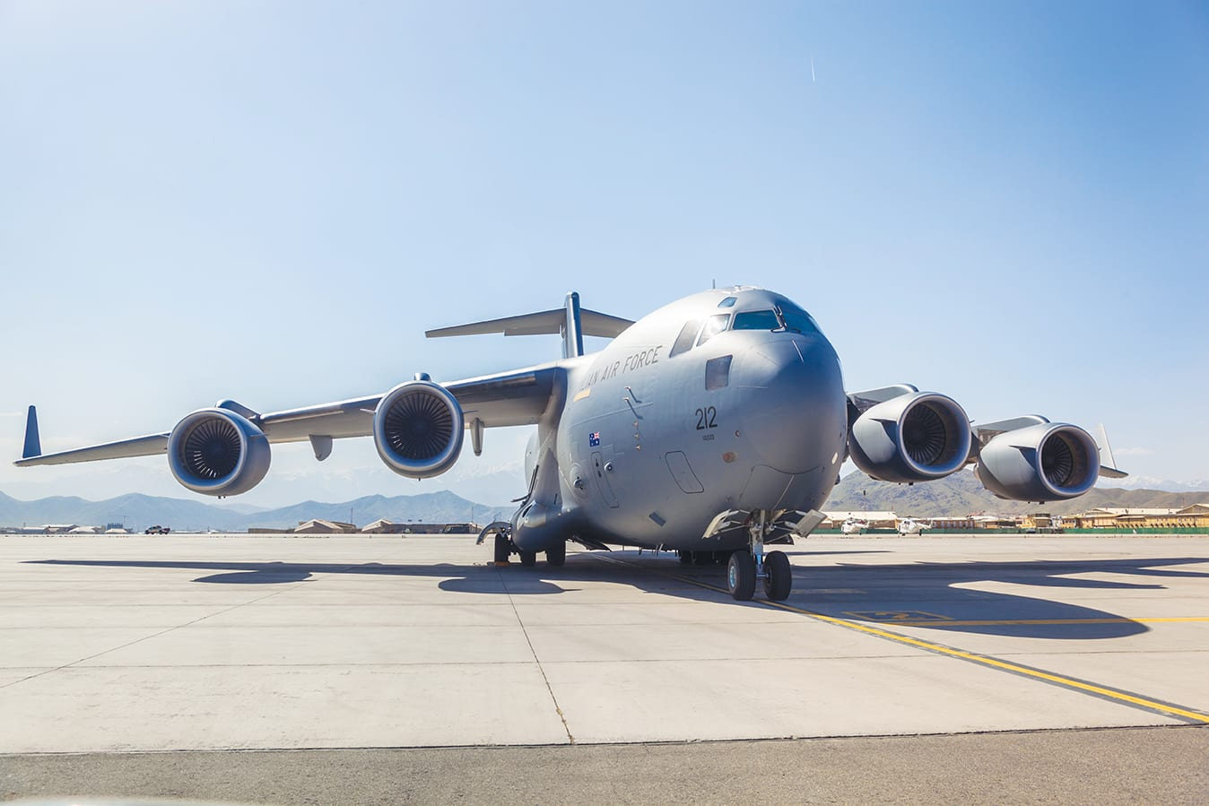 Kabul, Afghanistan - April 30, 2016: Australian Air Force C-17 Military Cargo Transport Aircraft on the taxiway.
