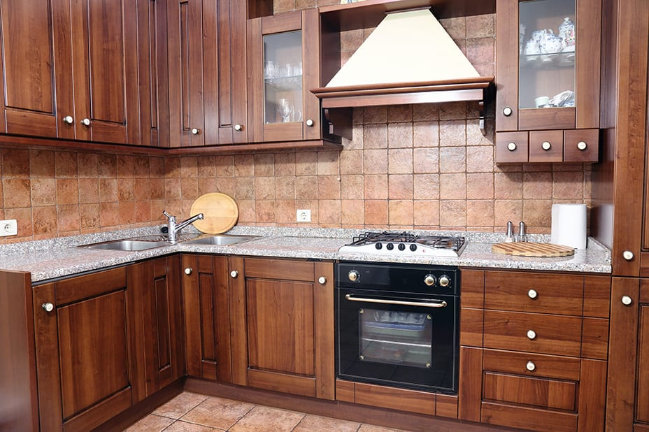 Wood cabinets in the Kitchen