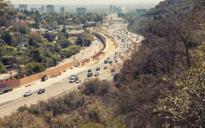Aerial view of Los Angeles 405 San Diego Freeway from Getty Center drive