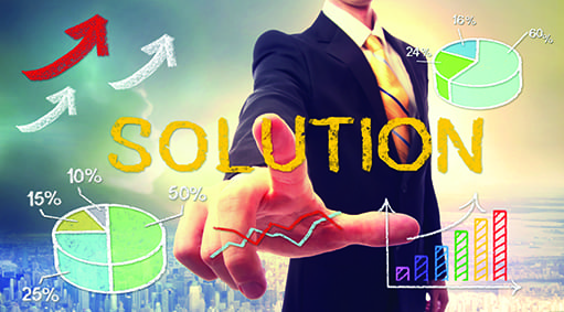 Solution concept with businessman and graphs and arrows