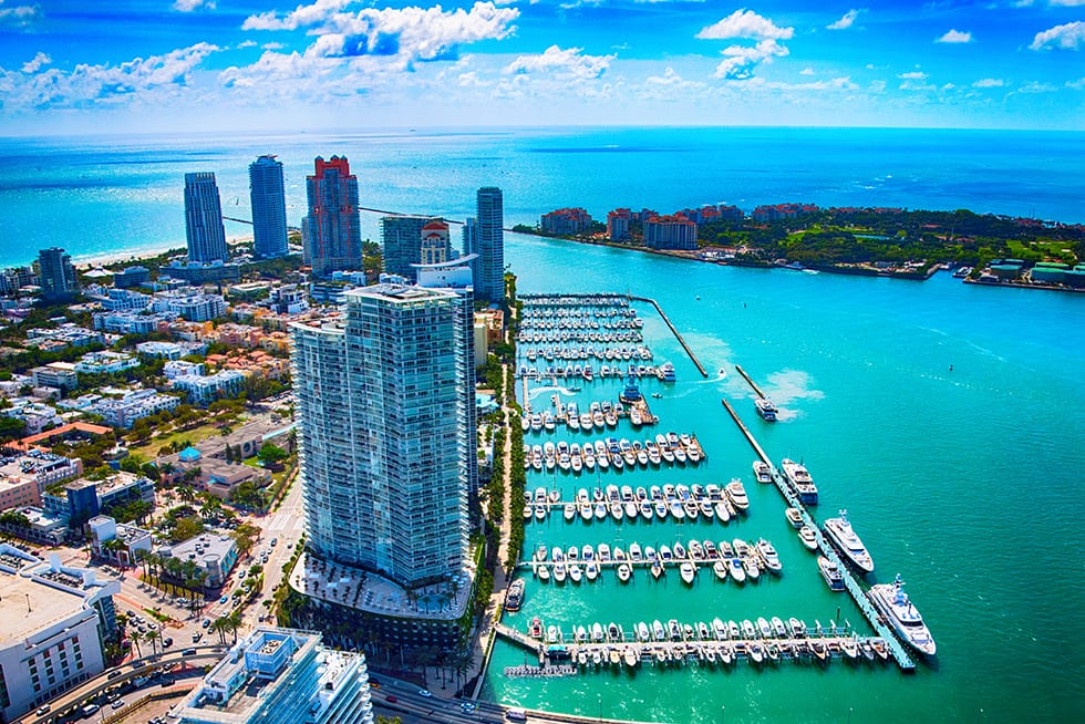 The Miami Beach area highlighting a marina along the Biscayne Bay shot from an altitude of about 900 feet during a helicopter photo flight.