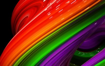 3d Illustration Rainbow of colors abstract colorful on black background.