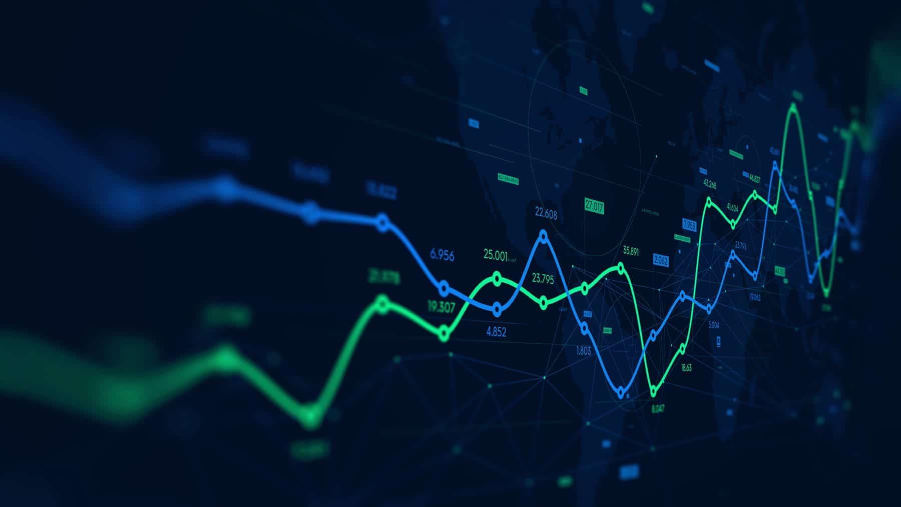 数字分析数据可视化、财务计划、用于演示的透视监视器屏幕
