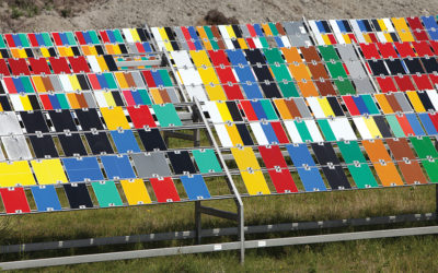 paint colors are tested by exposing them to the fierce summer sunlight on norderney in northern germany