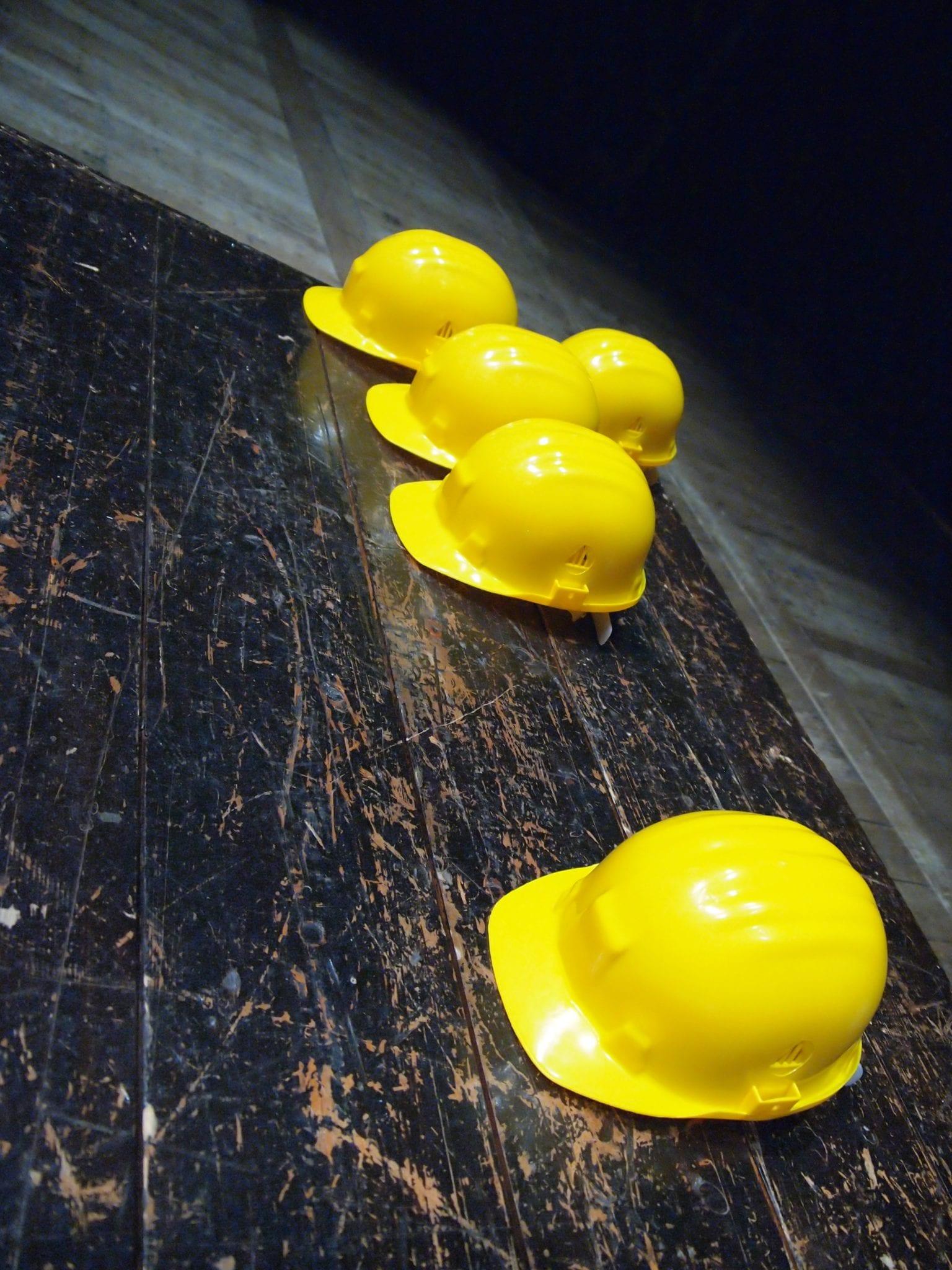 OSHA Yellow hard hats
