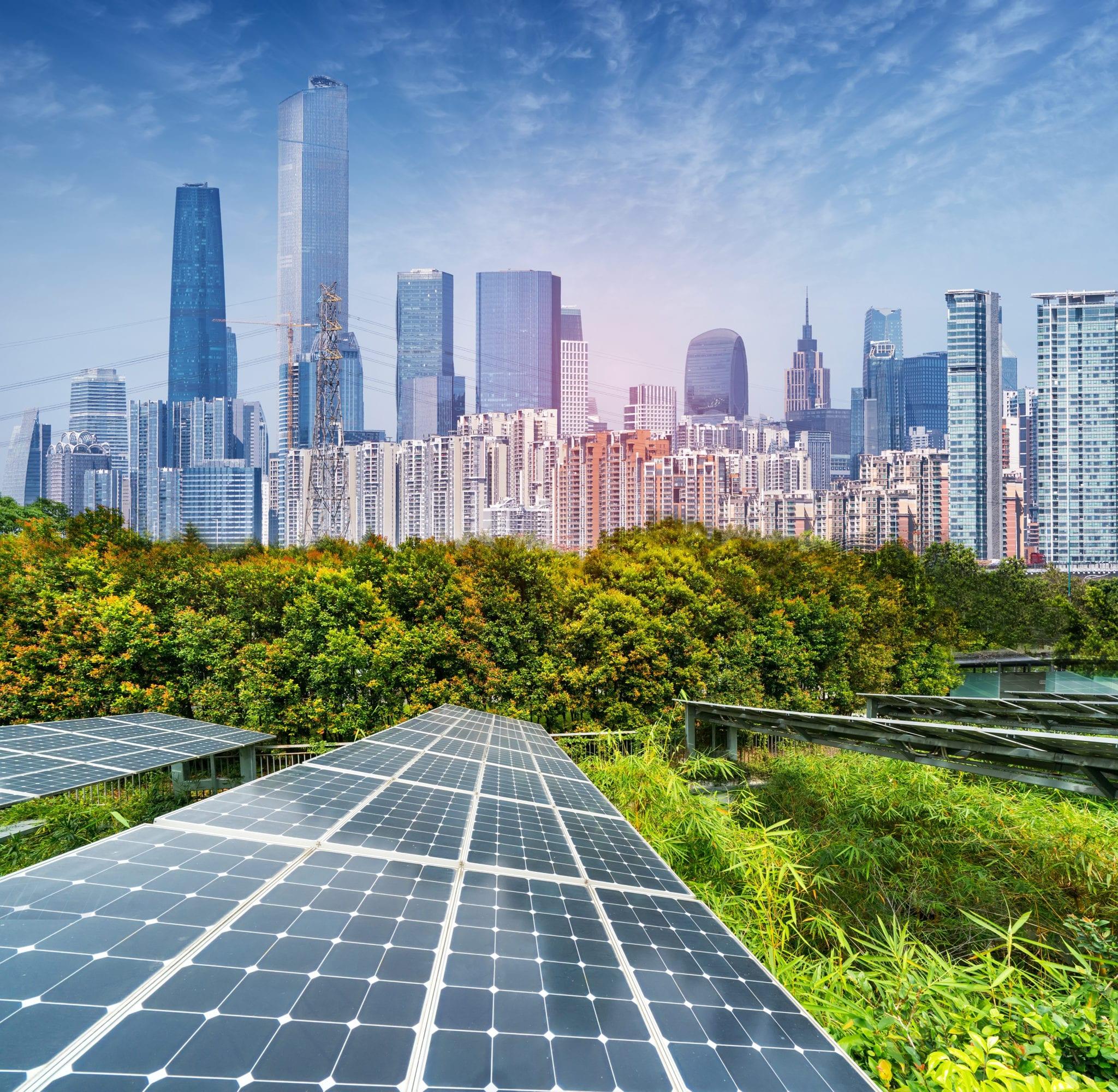 现代城市太阳能发电厂,可持续可再生能源