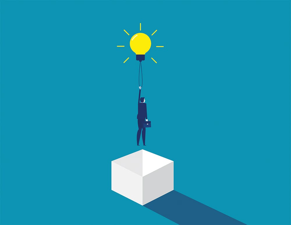 Think outside the box. Concept business idea solution, Development of ideas. Flat cartoon character style design.