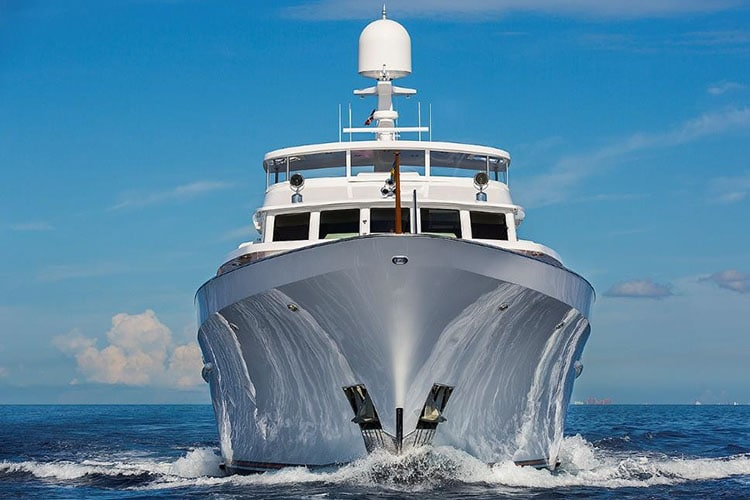 image of yacht against blue sky background
