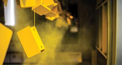 yellow powder coating on surface