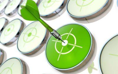 Green dart in a white bull's eye