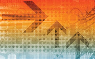 Orange-themed abstract representing business, finance and tech