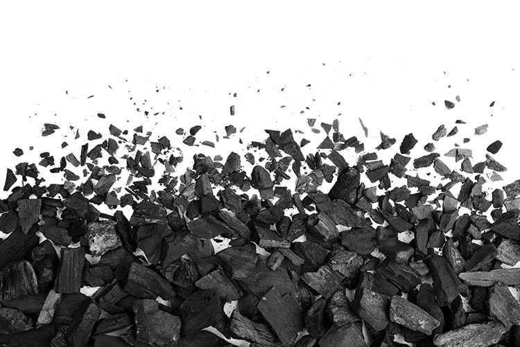 Charcoal or coal carbon texture