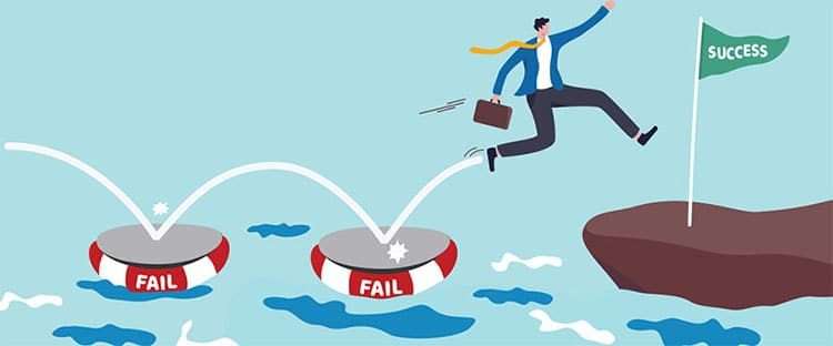 Cartoon of man leaping across stones marked fail and success